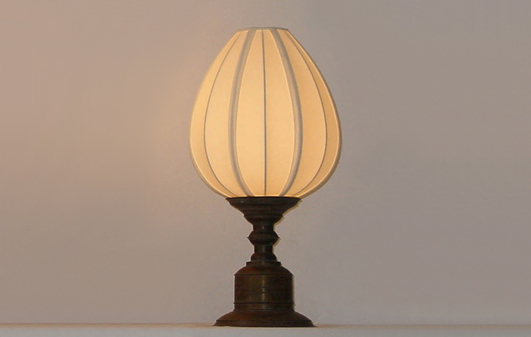 Glock lamp manufactory bentota round lotus xs h 50 cm s h 60 cm m h 70 cm l h 78 cm brass base and fabric shade aloadofball Image collections
